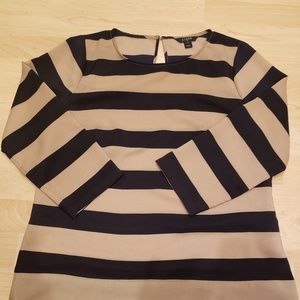 J. Crew Black and tan striped blouse small